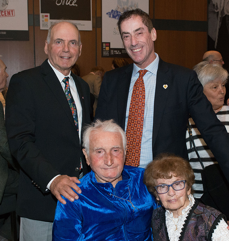 "PHOTO CAPTION: Standing, L. to R. Joseph Bitton, CMDA Past President, Mitchell Brownstein, Cote St. Luc Mayor Seated: Wolf Bronet, Sylvia Weiner, long time ""Wolf Pack"" member"